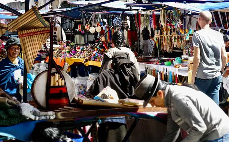 The busy indigenous market in otavalo