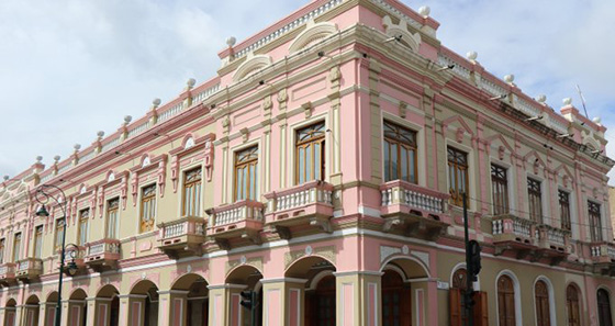 Pink house-museum in Riobamba, Ecuador