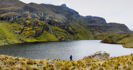 Man looking at the lake in Cajas National Park, Ecuador