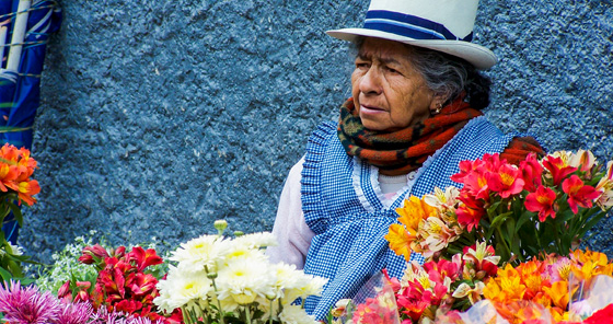 Woman selling flowers at flower market in Cuenca, Ecuador