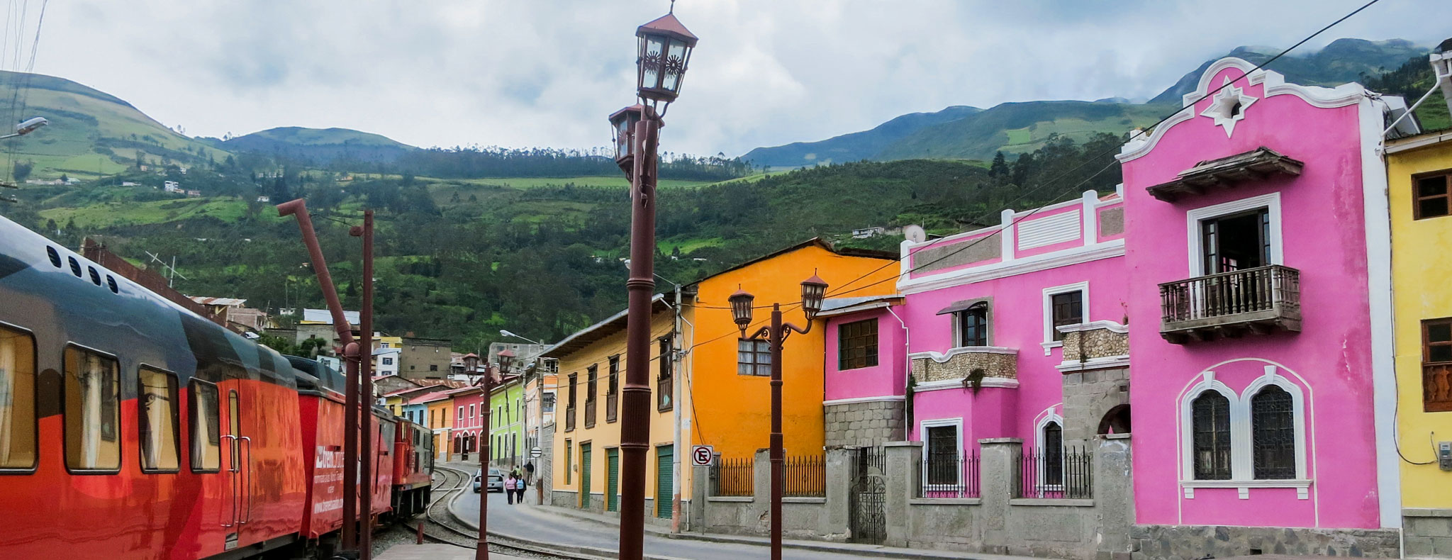 Colorful houses at a railway station in Alausí, Ecuador