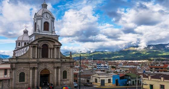 Small cathedral in Maldonado Park in Riobamba, Ecuador