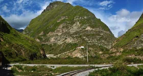 View of Nariz del Diablo (Devil's Nose) hill in Alausí, Ecuador