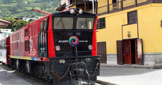 Old train at Riobamba train station in Ecuador