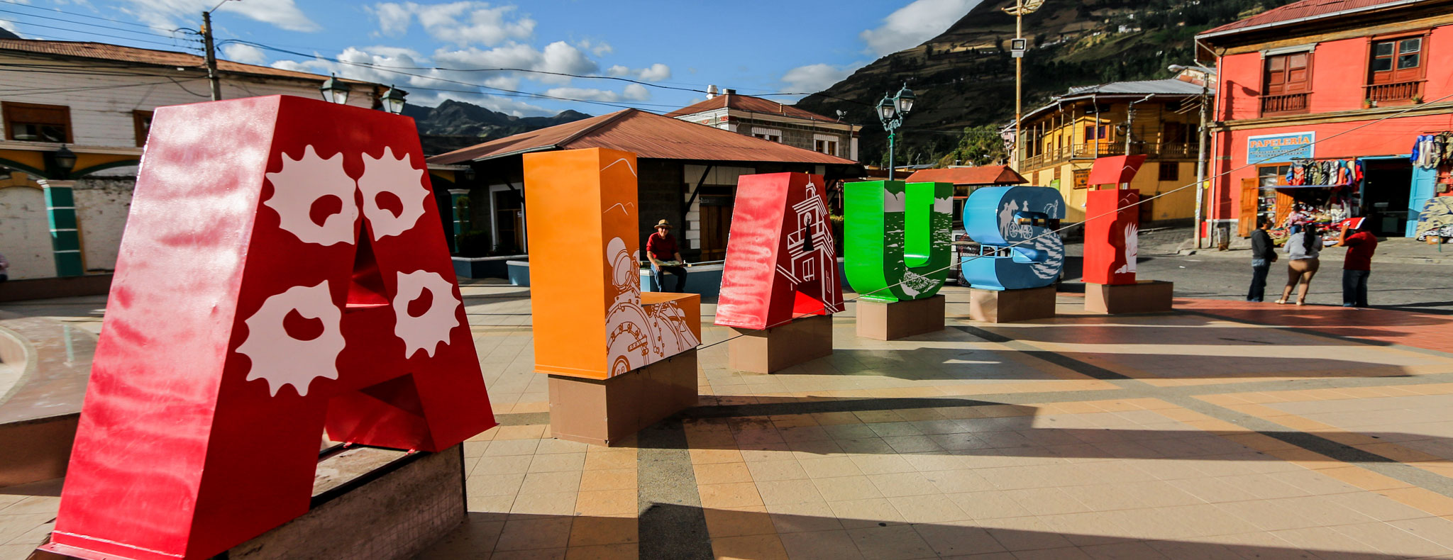 Big colorful letters at the historic center of Alausí, Ecuador