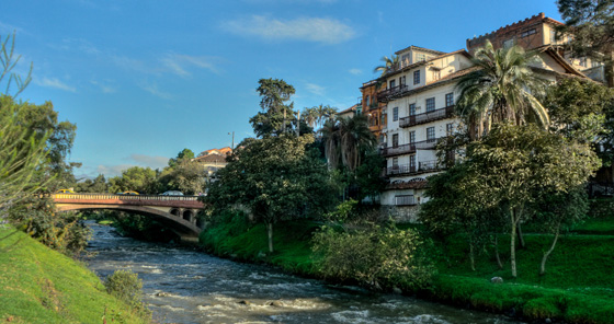 Small bridge over river in Cuenca, Ecuador