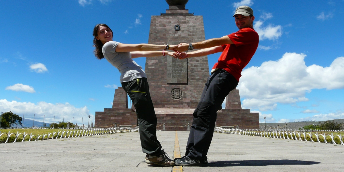 couple at the mitad del mundo